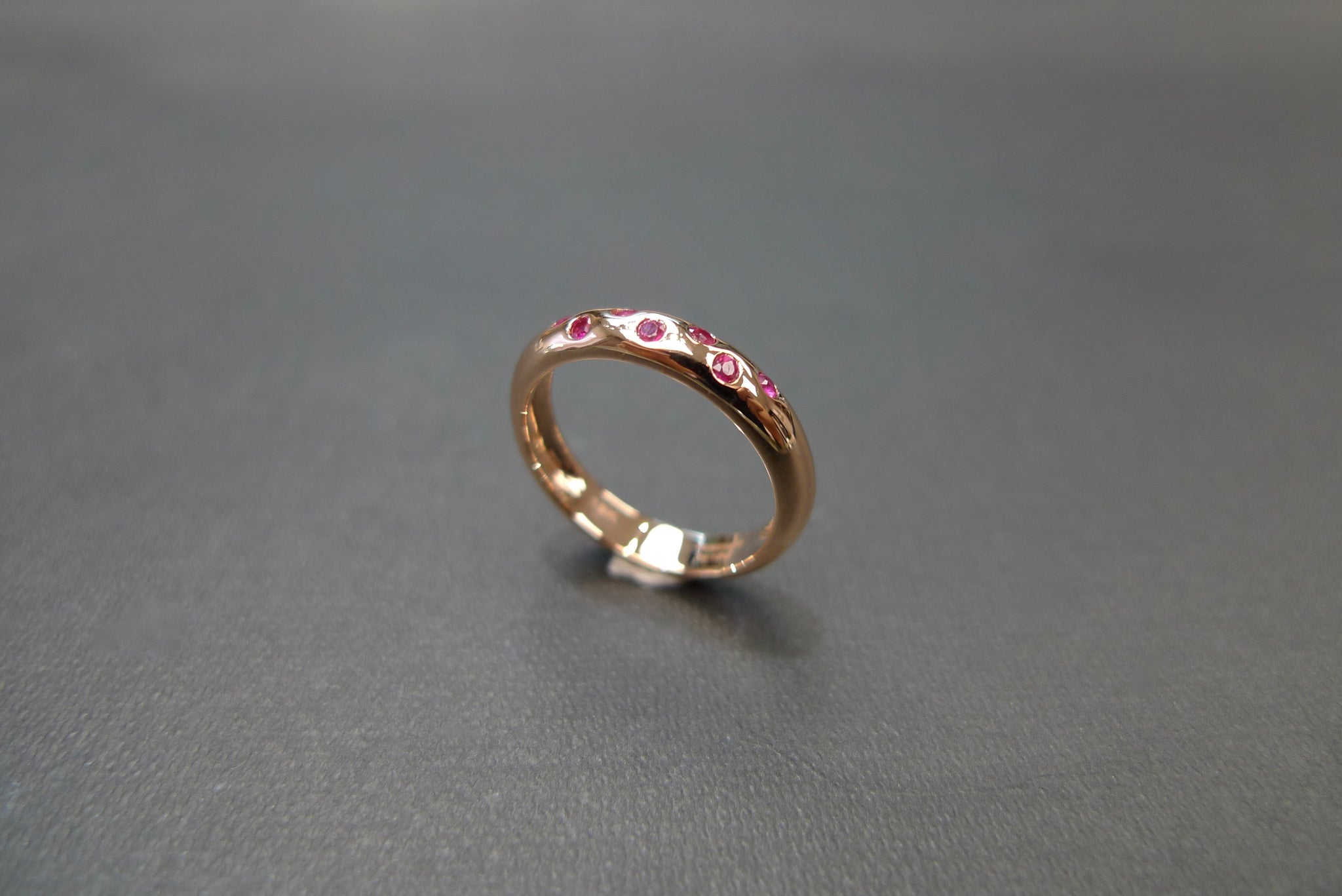 Ruby Wedding Polka Dot Ring in 18K Rose Gold - HN JEWELRY