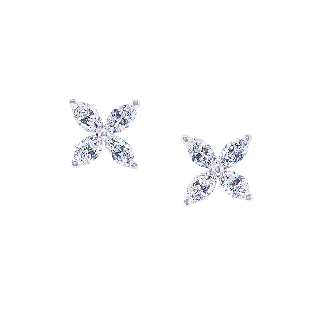 Small Version Marquise Diamond Earrings in 18K White Gold - HN JEWELRY