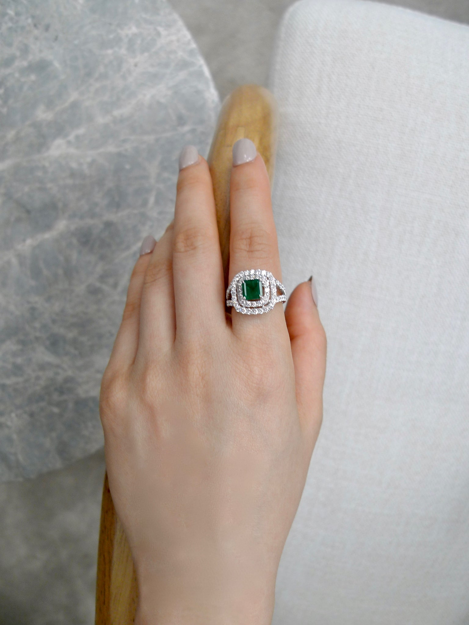Emerald and Diamond Double Halo Ring in 18K White Gold - HN JEWELRY