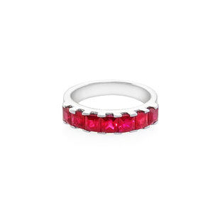 Princess Cut Ruby Ring in 18K White Gold - HN JEWELRY
