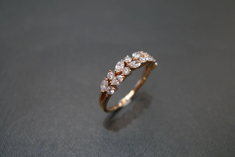 4mm Marquise Diamond Wedding Ring in 18K Rose Gold - HN JEWELRY