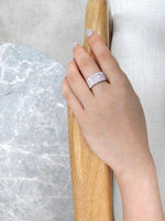 three_row_diamond_wedding_ring_white_gold_on_model_hand