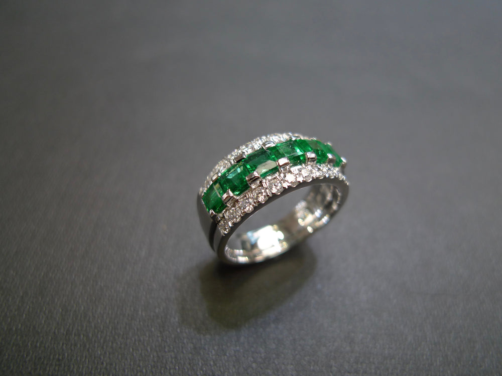 Emerald and Diamond Three Row Ring in White Gold