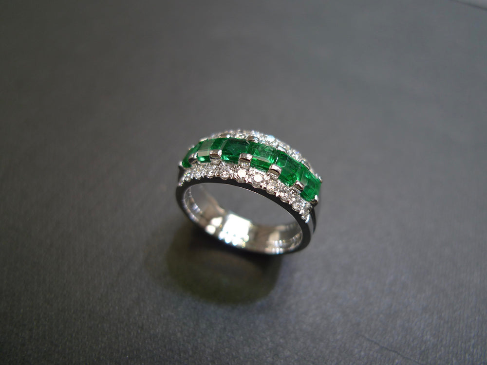 square cut emerald and diamond wedding band