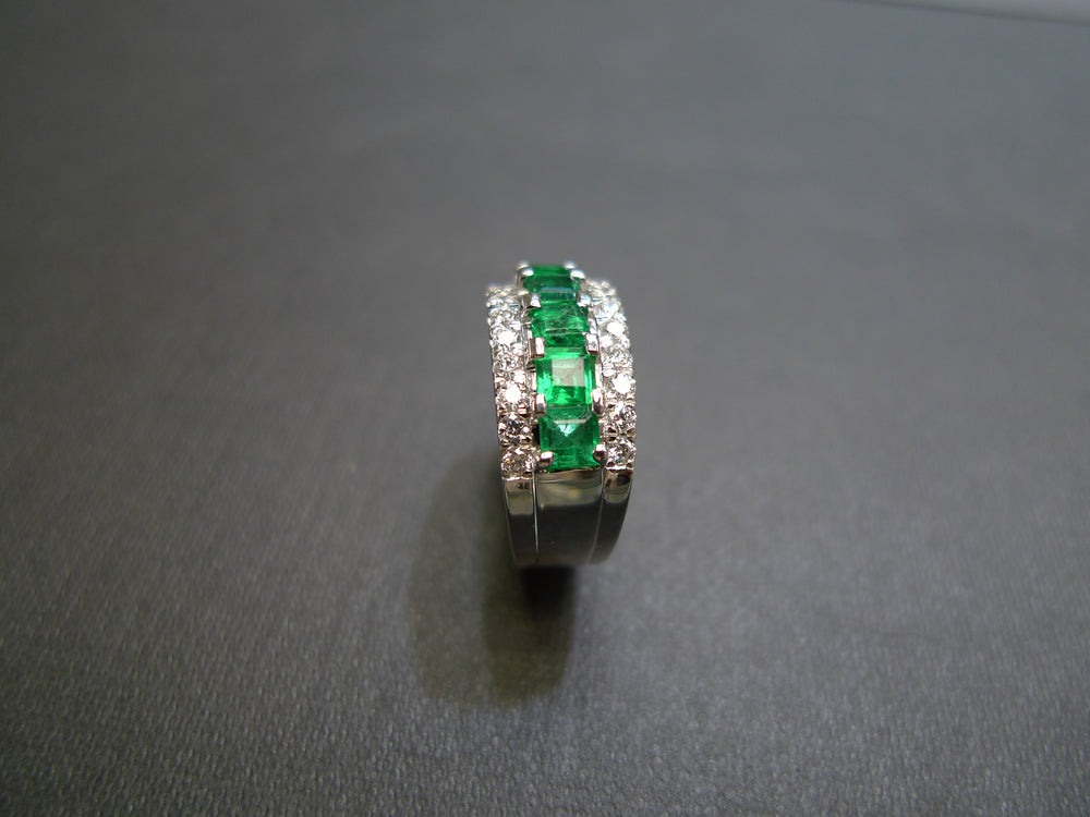 emerald and diamond three row wedding ring