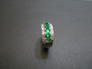 Emerald and Diamond Three Row Ring in 18K White Gold - HN JEWELRY