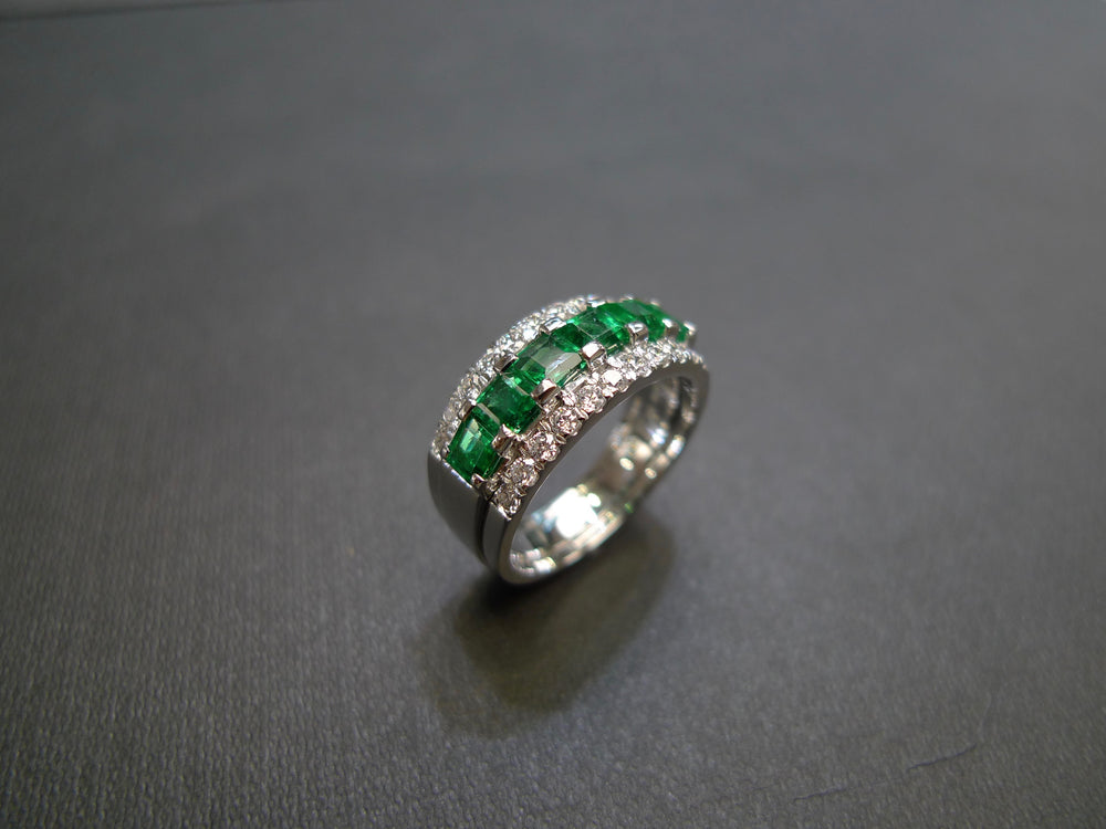 three row emerald diamond wedding band