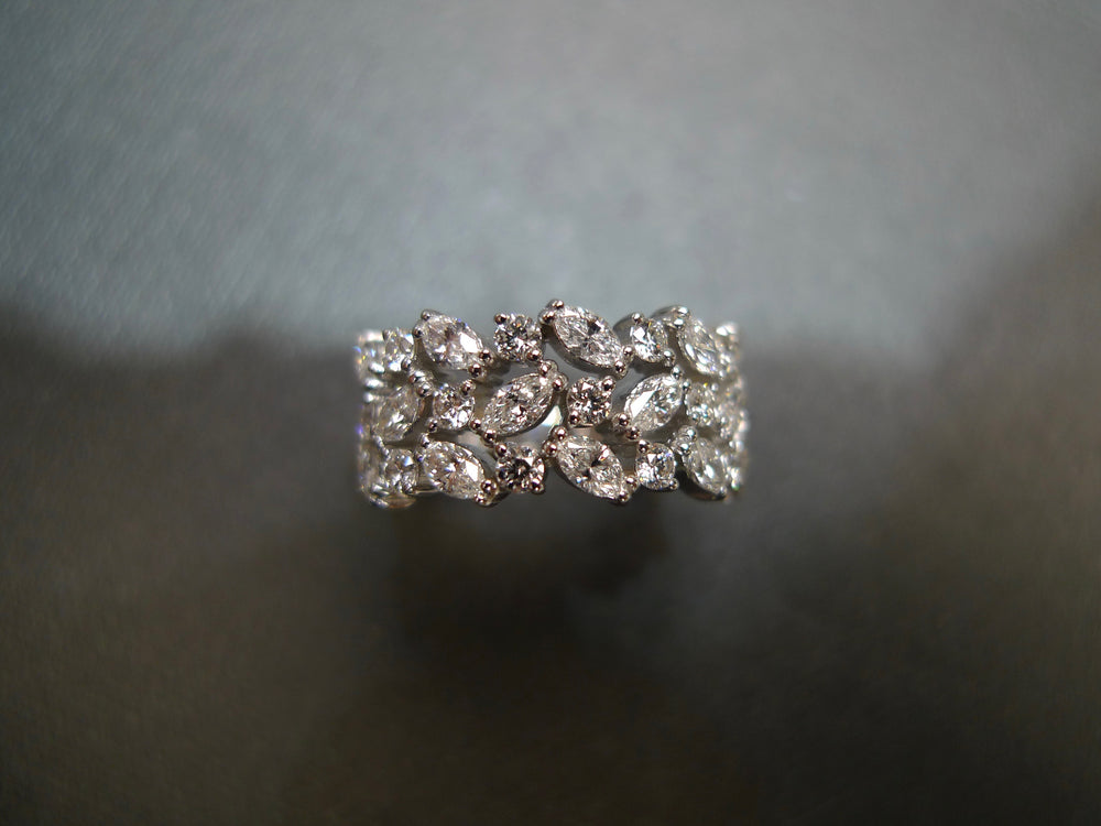Three Rows Marquise Diamond Ring in White Gold