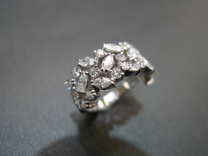 Three Rows Marquise Diamond Ring in 18K White Gold - HN JEWELRY