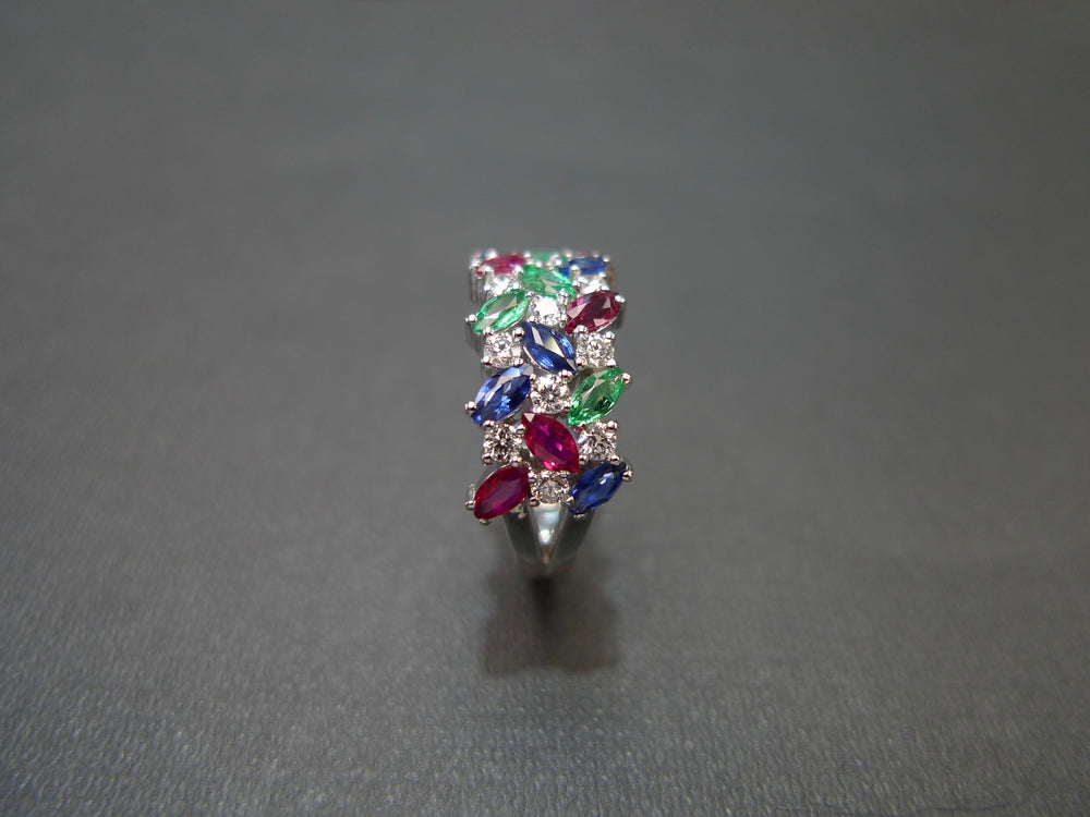 Marquise Diamond Ring with Ruby, Blue Sapphire and Emerald
