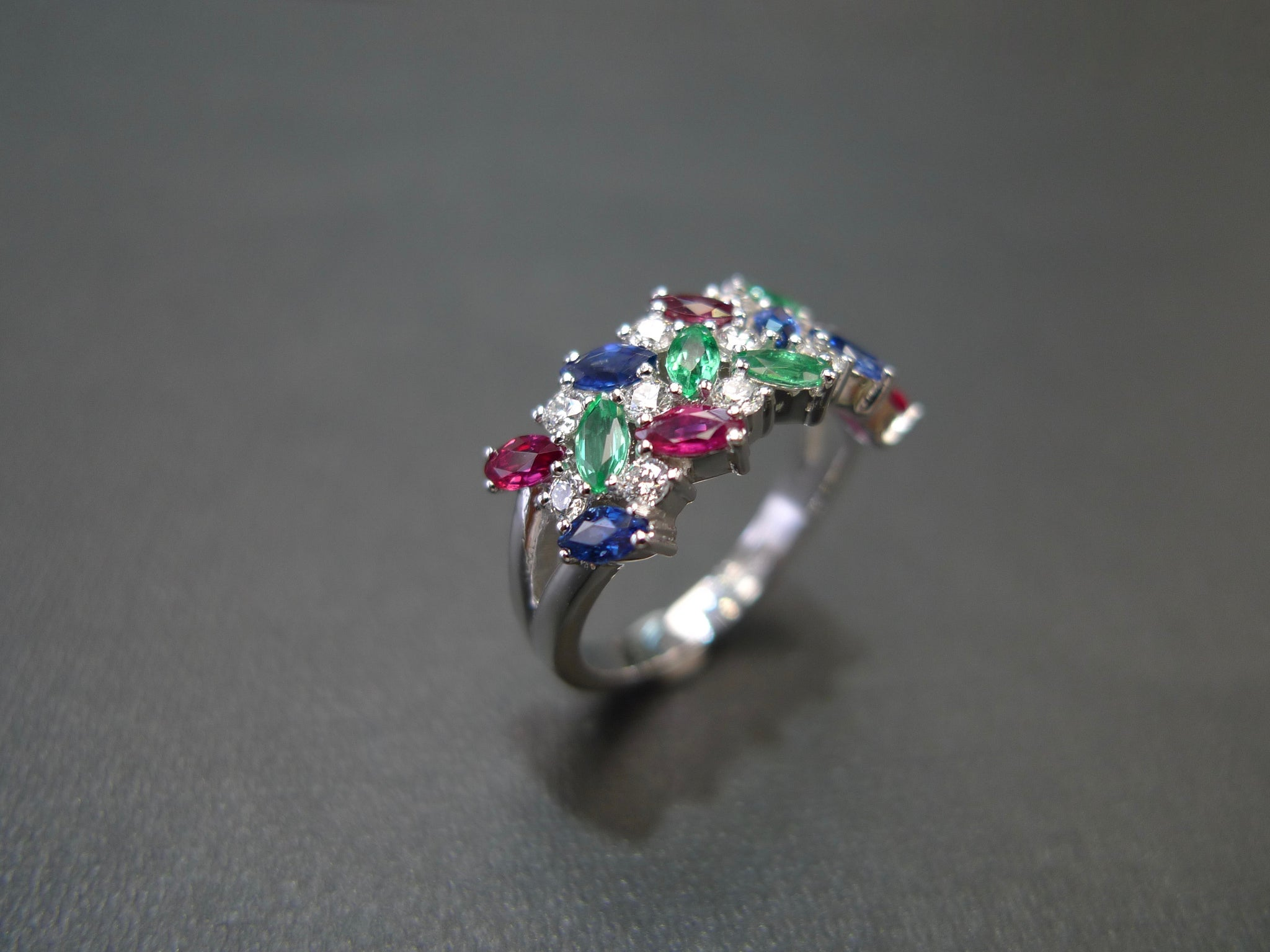 Marquise Diamond Ring with Ruby, Blue Sapphire and Emerald in 18K White Gold - HN JEWELRY