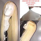13*6 Fake scalp synthetic lace front wig blonde straight