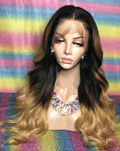 Ombre Blonde Human Virgin Hair Pre Plucked Lace Front Wig For Black Woman Free Shipping