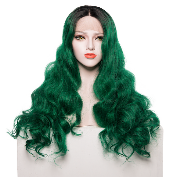 Wave Ombre Green Wig