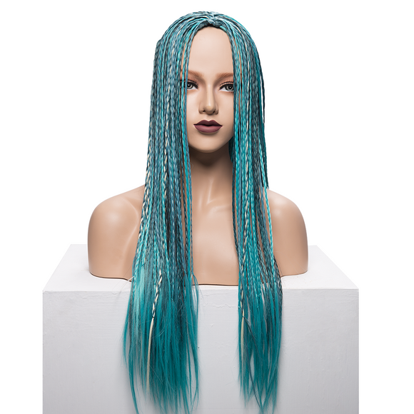 Blue Cornrows Synthetic Lace Front Wigs