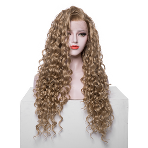 Brown Synthetic Curly Lace Front Wigs