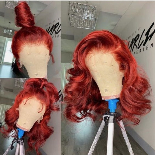 Human Virgin Hair Pre Plucked Lace Front Wig And Full Lace Wig Red For Black Woman Free Shipping