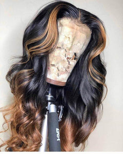 Human Virgin Hair Ombre Honey Blonde Pre Plucked Lace Front Wig And Full Lace Wig For Black Woman Free Shipping