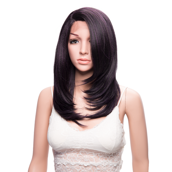 Black Shoulder Length Synthetic Lace Front Wigs