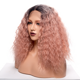 Ombre Pink Curly Synthetic Lace Front Wigs