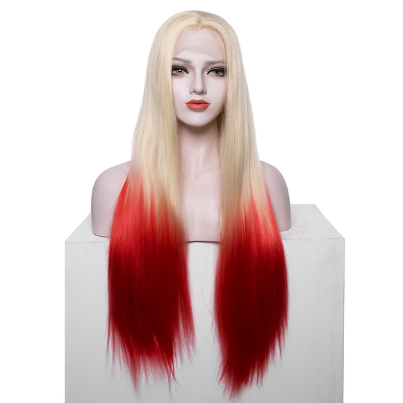 Blonde to Red Synthetic Lace Front Wigs