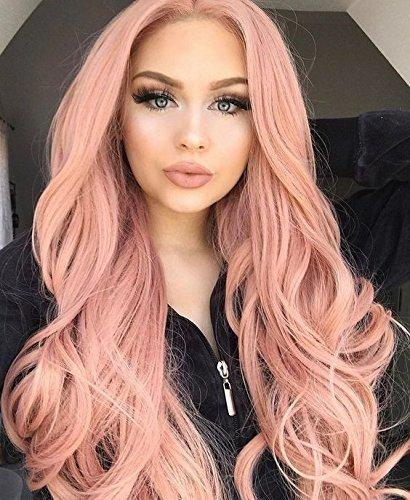Lace Front Wigs Pink Wigs for Women Synthetic Rose Wig Long Wavy(h0199_1)