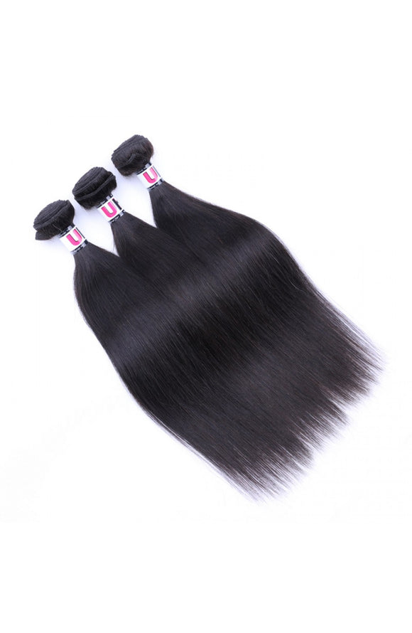 6A Grade Brazilian Virgin Hair Straight 3Pcs/Pack Natural Black Color