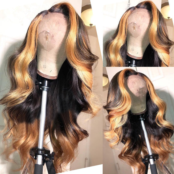Human Virgin Hair Pre Plucked Lace Front Wig For Black Woman Free Shipping