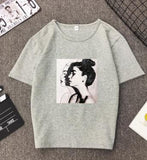 New Fashion T shirt Woman Spring Summer Girls Print Short Sleeve O Neck Cotton Spandex Women Top Slim Fit Soft Women Tshirt