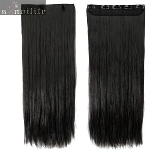 Hair Extensions Black Brown Natural Straight 58-76cm Long High Tempreture Synthetic Hair Extension Hairpiece