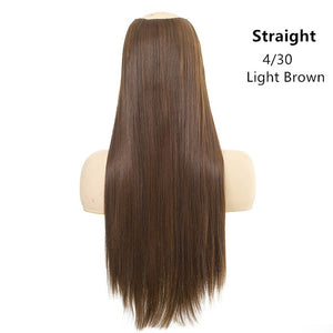 "SARLA 24"" 170g U-Part Clip in Hair Extension Straight & Wavy Ombre One Piece Head Long Natural False Synthetic Hairpieces"