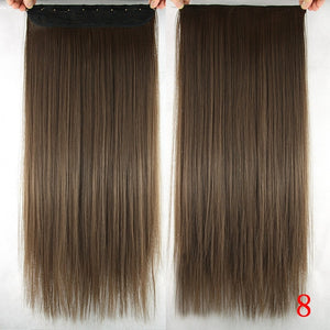 60cm Long Straight Women Clip in Hair Extensions Black Brown High Tempreture Synthetic Hair Piece