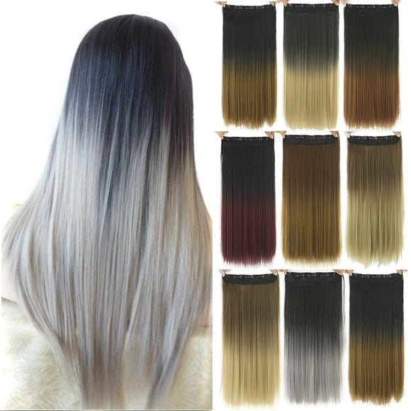 Long Straight Black to Gray Natural Color Women Ombre Hair High Tempreture Synthetic Hairpiece Clip in Hair Extensions