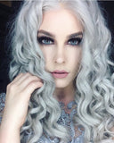 FPC Grey Curly Synthetic Lace Front Wigs SLW008