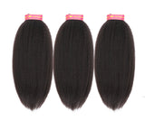 6A Grade Brazilian Virgin Hair Kinky Straight 3Pcs/Pack Natural Black Color
