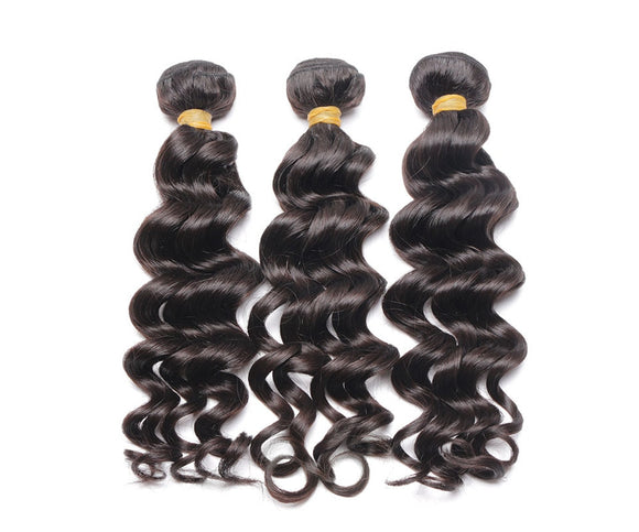 6A Grade Brazilian Virgin Hair Natural Wave 3Pcs/Pack Natural Black Color