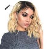 FPC Short Wavy Brazilian remy Human Hair Lace Front Wig Ombre blond 1B/#613 Bob Cut Lace Wig Pre Plucked Baby Hair