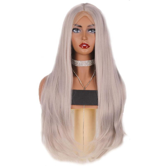 Ash Grey High Temperature Fiber Natural Straight Synthetic Lace Front Wig