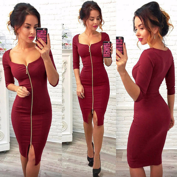 Women Sexy Club Low Cut Bodycon Dress Red Velvet Sheath Casual Autumn Winter Zipper Fashion Party Dresses