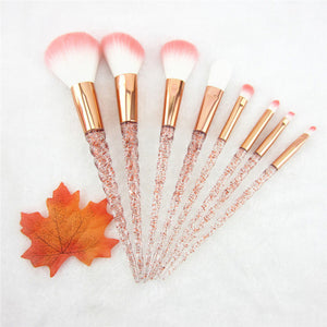 8pcs Red Glitter Unicorn Brush Set