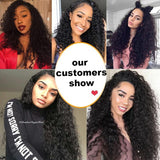 Curly Lace Front Human Hair Wigs For Women Black Color