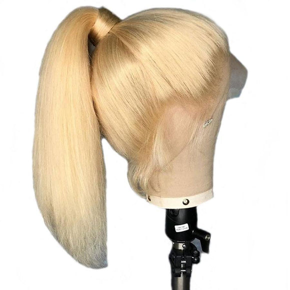 #613 Blonde Lace Front Human Hair Wigs Pre Plucked With Baby Hair Brazilian Remy Straight Lace Front Wig Bleached Knots