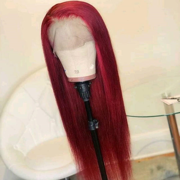99J Red Black Straight 13x6 Lace Front Human Hair Wig