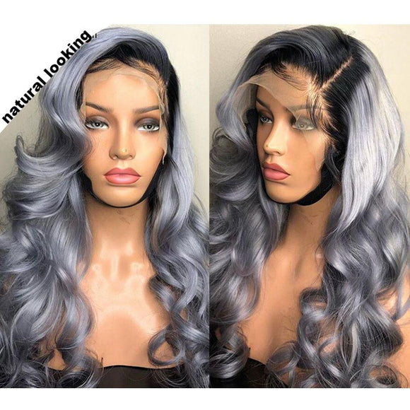 FPC Grey Human Hair Wig With Baby Hair Ombre Lace Front Wig Brazilian Remy Wavy Hair Lace Front Human Hair Wigs For Women