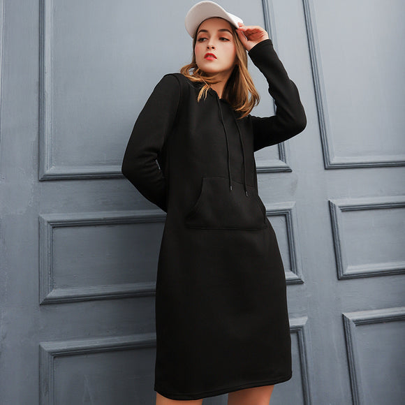 Warm Sweatshirt Long-sleeved Dress Woman Clothing Hooded Collar Pocket Design Simple Woman Dress