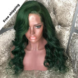 FPC Glueless Green Wig 150% Density Lace Front Human Hair Wigs For Women Remy Hair Brazilian Body Wave Wig With Baby Hair