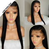 Straight Full Lace Human Hair Wigs Pre Plucked Hairline With Baby Hair