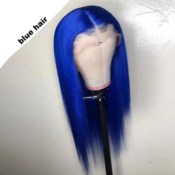 FPC Blue Human Hair Wig Preplucked Hairline Remy Hair Brazilian Straight Lace Front Wig Glueless Red Wigs For Women