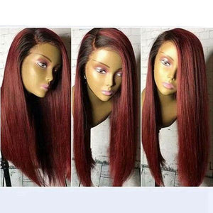 FPC Blue Wig With Baby Hair 1B/Burgundy Lace Front Wig Preplucked Brazilian Remy Hair Ombre Human Hair Wigs For Women