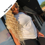 FPC Loose Wave Wig Brazilian Remy Hair 130% Density 613 Full Lace Wig With Baby Hair Blonde Human Hair Wig Bleached Knots